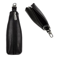 """Футляр для ключей FABULA """"Estet"""", натуральная кожа, на молнии, 55x130x25 мм, черный, KL.6.MN"""
