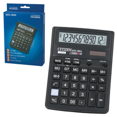 Калькулятор CITIZEN настольный SDC-382II, 12 разрядов, двойное питание, 190х136 мм