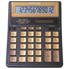 Калькулятор CITIZEN настольный, SDC-888TIIGE Gold, 12 разрядов, двойное питание, 203х158 мм, золотой