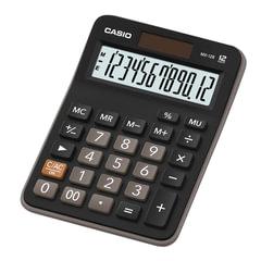 Калькулятор CASIO настольный MX-12B-W, 12 разрядов, двойное питание, 145х103 мм, европодвес, черный