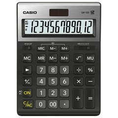 Калькулятор CASIO настольный GR-120-W, 12 разрядов, двойное питание, 210х155 мм, черный, металлическая верхняя панель