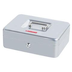 Ящик для денег, ценностей, документов, печатей, 90х180х250 мм, ключевой замок, серебристый, BRAUBERG, 291059
