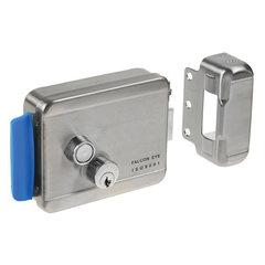 Замок FALCON EYE FE-2369 электромеханический накладной, 3 ключа, кнопка выхода, хромированный, серебро
