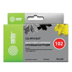 Картридж струйный CACTUS (CS-PFI102Y) для CANON iPF500/510/F600/605/650/700, желтый, 130 мл