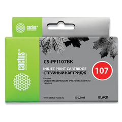Картридж струйный CACTUS (CS-PFI107BK) для CANON PF680/685/780/785, черный, 130 мл