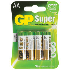 Батарейки GP Super, AA (LR06, 15 А), алкалиновые, 4 шт., в блистере