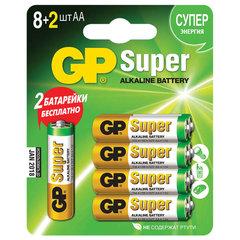 Батарейки GP Super, AA (LR06, 15 А), алкалиновые, 10 шт. (промо 8+2), в блистере