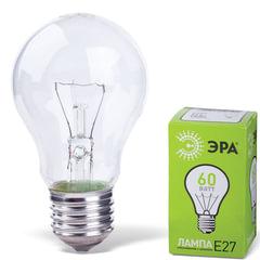 Лампа накаливания ЭРА, 60 Вт, грушевидная, прозрачная, колба d=50 мм, цоколь Е27