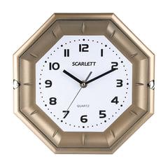 Часы настенные SCARLETT SC-55QZ восьмигранник, белые, золотистая рамка, плавный ход, 25,5х25,5х4 см