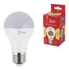 Лампа светодиодная ЭРА, 10 (70) Вт, цоколь E27, грушевидная, теплый белый свет, 25000 ч., LED smdA60-10w-827-E27ECO