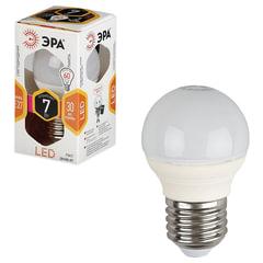 Лампа светодиодная ЭРА, 7 (60) Вт, цоколь E27, шар, теплый белый свет, 30000 ч., LED smdP45-7w-827-E27