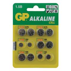Батарейки GP Alkaline, комплект 12 шт. (LR44 4 шт.; LR60, LR43, LR54, LR41 по 2 шт.), в блистере
