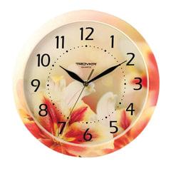 """Часы настенные TROYKA 11000018, круг, белые с рисунком """"Лилии"""", рамка в цвет корпуса, 29x29x3,5 см"""