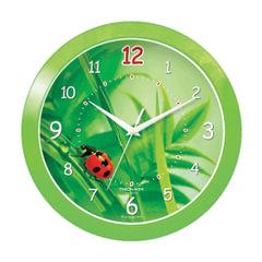 """Часы настенные TROYKA 11121142, круг, зеленые с рисунком """"Божья коровка"""", зеленая рамка, 29х29х3,5 см"""