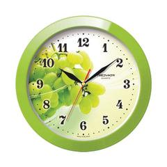"""Часы настенные TROYKA 11121161, круг, белые с рисунком """"Виноград"""", зеленая рамка, 29х29х3,5 см"""