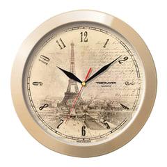 """Часы настенные TROYKA 11135152, круг, бежевые с рисунком """"Париж"""", бежевая рамка, 29х29х3,5 см"""