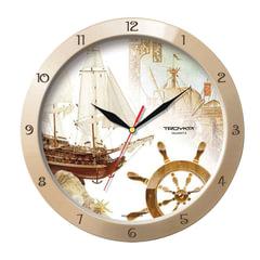 """Часы настенные TROYKA 11135172, круг, бежевые с рисунком """"Парусник"""", бежевая рамка, 29х29х3,5 см"""