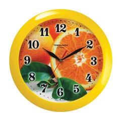 """Часы настенные TROYKA 11150126, круг, с рисунком """"Апельсин"""", желтая рамка, 29х29х3,5 см"""