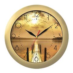 """Часы настенные TROYKA 11171146, круг, с рисунком """"Закат"""", золотая рамка, 29х29х3,5 см"""