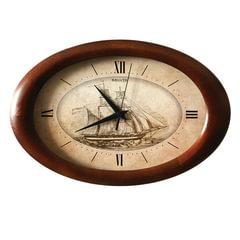 "Часы настенные САЛЮТ ДС-ОБ28-196, круг, бежевые с рисунком ""Корабль"", деревянная рамка, 40х26,5х4 см"