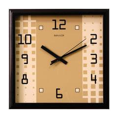 """Часы настенные САЛЮТ П-2А6-072, квадрат, бежевые с рисунком """"Абстракция"""", деревянная рамка, 28х28х4 см"""