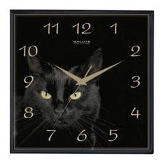 "Часы настенные САЛЮТ П-2А6-412, квадрат, черные с рисунком ""Черная кошка"", черная рамка, 28х28х4 см"