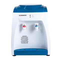 Кулер для воды SONNEN TS-03, настольный, нагрев/охлаждение, 2 крана, белый/синий, 452418