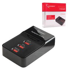 Зарядная станция GEMBIRD MP3A-PC-01, 3 USB, выходное напряжение 3 A, шнур 1 м, черная
