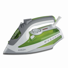 Утюг SCARLETT SC-SI30K08, 2600 Вт, терморегулятор, антипригарная поверхность, самоочистка, белый/зеленый