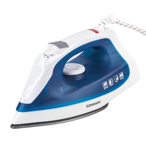 Утюг SONNEN SI-237A, 1800 Вт, антипригарное покрытие, синий/белый
