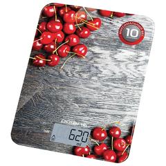 """Весы кухонные POLARIS PKS 1046DG """"Вишня"""", электронный дисплей, max вес 10 кг, тарокомпенсация, стекло"""