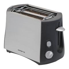 Тостер POLARIS PET 0804A, 800 Вт, 2 тоста, 6 режимов, решетка для булочек, пластик/аллюминий, черный