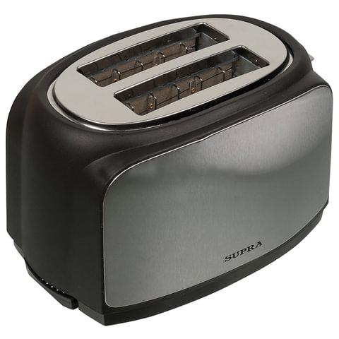 Тостер SUPRA TTS-217, 800 Вт, 2 тоста, разморозка, подогрев, пластик, серый/черный