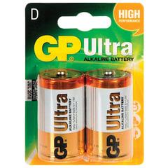Батарейки GP Ultra, D (LR20, 13А), алкалиновые, комплект 2 шт., в блистере