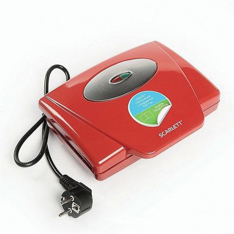 Тостер-сэндвичница SCARLETT SC-TM11036, 750 Вт, 4 тоста, механическое управление, пластик, красный