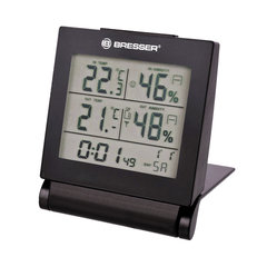 Метеостанция BRESSER MyTime Travel AlarmClock, термодатчик, гигрометр, будильник, календарь, черный, 73254