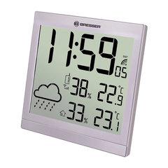 Метеостанция BRESSER TemeoTrend JC LCD, термодатчик, гигрометр, часы, будильник, серебро, 73269