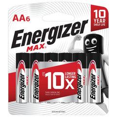 Батарейки ENERGIZER Max, AA (LR06, 15А), алкалиновые, КОМПЛЕКТ 6 шт., в блистере
