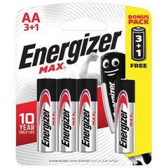 Батарейки КОМПЛЕКТ 4 шт., ENERGIZER Max, ПРОМО 3+1, AA (LR06, 15А), алкалиновые, пальчиковые, блистер