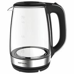 Чайник NATIONAL NK-KE17312, объем 1,7 л, 2200 Вт, закрытый нагревательный элемент, стекло, черный