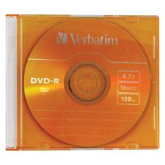 Диск DVD-R (минус) VERBATIM, 4,7 Gb, 16x, Colour Slim Case