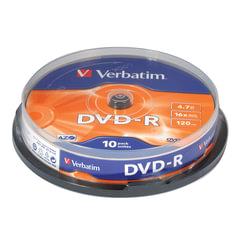 Диски DVD-R (минус) VERBATIM 4,7 Gb 16x, КОМПЛЕКТ 10 шт., Cake Box