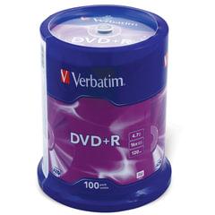 Диски DVD+R (плюс) VERBATIM 4,7 Gb 16x, КОМПЛЕКТ 100 шт., Cake Box, 43551