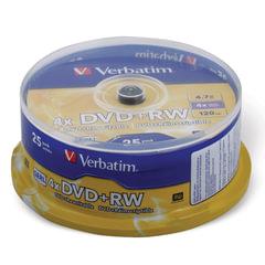 Диски DVD+RW (плюс) VERBATIM 4,7 Gb 4x, КОМПЛЕКТ 25 шт., Cake Box