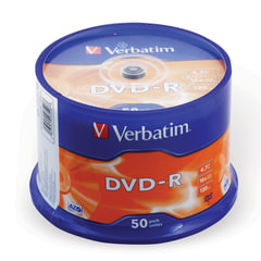 Диски DVD-R(минус) VERBATIM 4,7 Gb 16x, КОМПЛЕКТ 50 шт., Cake Box, 43548