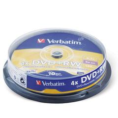 Диски DVD+RW (плюс) VERBATIM 4,7 Gb 4x, КОМПЛЕКТ 10 шт., Cake Box