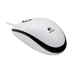 Мышь проводная LOGITECH M100, USB, 2 кнопки + 1 колесо-кнопка, оптическая, бело-черная