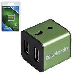 Хаб DEFENDER QUADRO IRON, USB 2.0, 4 порта, алюминиевый корпус, порт для питания