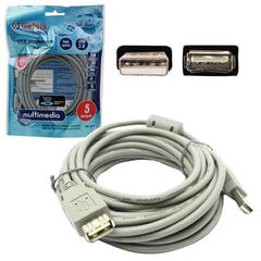 Кабель-удлинитель USB 2.0, 5 м, BELSIS, M-F, 1 фильтр, для подключения периферии