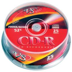 Диски CD-R VS 700 Mb 52x, КОМПЛЕКТ 25 шт., Cake Box, с поверхностью для печати